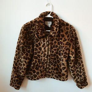 Vintage Faux Fur Leopard Print Jacket